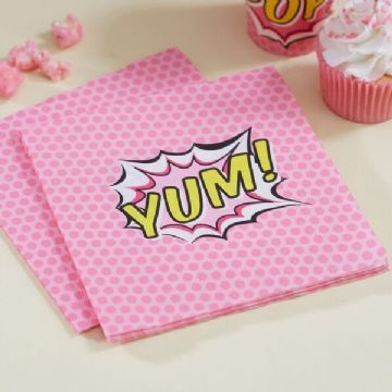 """YUM"" Pink Pop Art Superhero Girl - Pack of 20 Napkins"